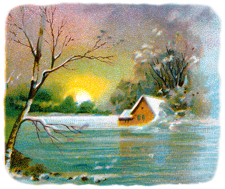 Winter Landscape Clip Art From A Victorian Scrapbook Showing A Snow