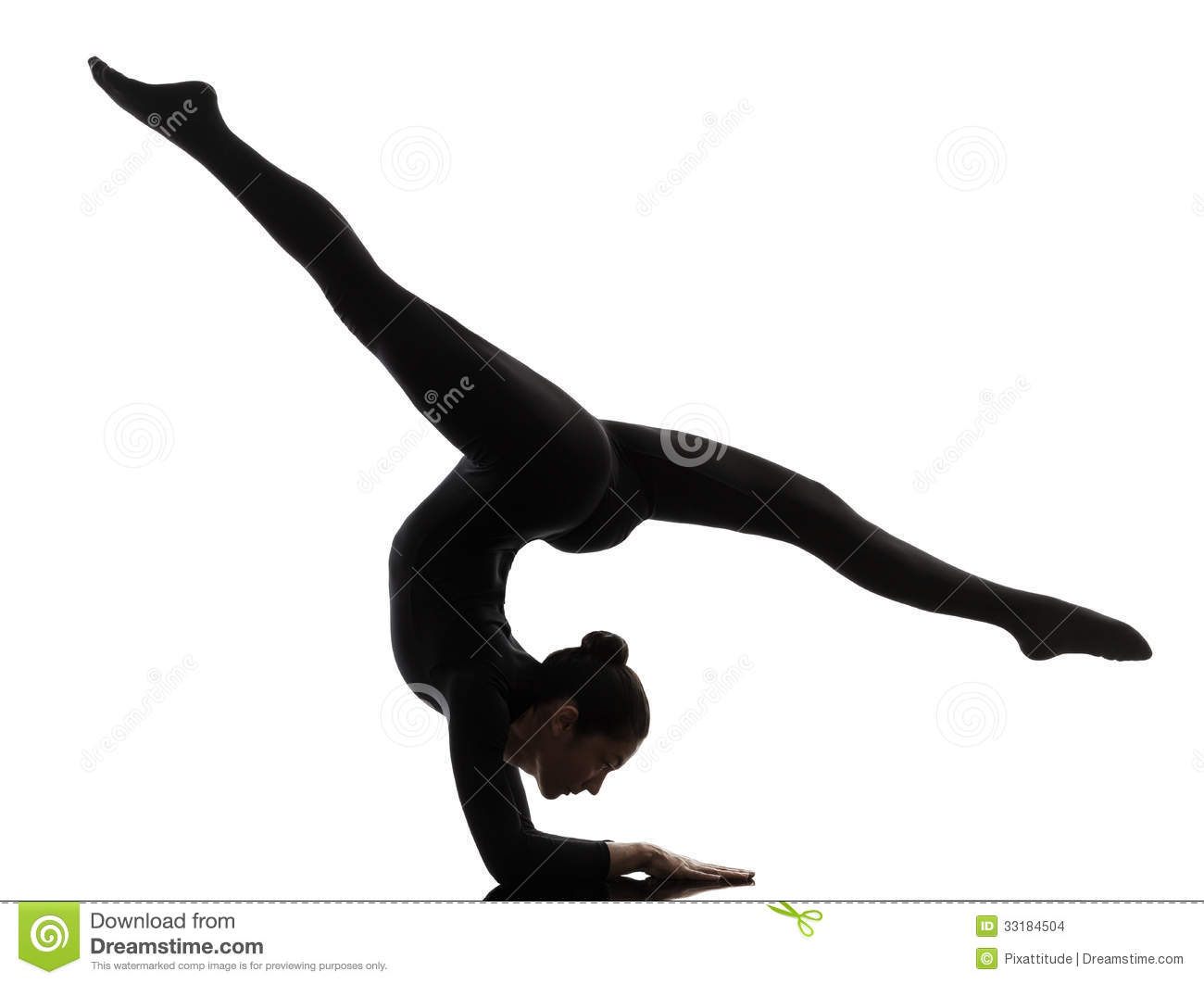 Woman Contortionist Exercising Gymnastic Yoga Silhouette Stock Images