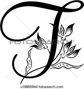 Alphabet Capital Monogram Script T Lettered View Large Clip