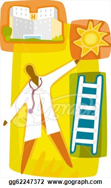Clip Art   A Doctor Climbing Up The Ladder Towards A Bright Career At