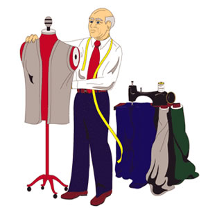 Clip Art Of A Tailor Working On A Garment