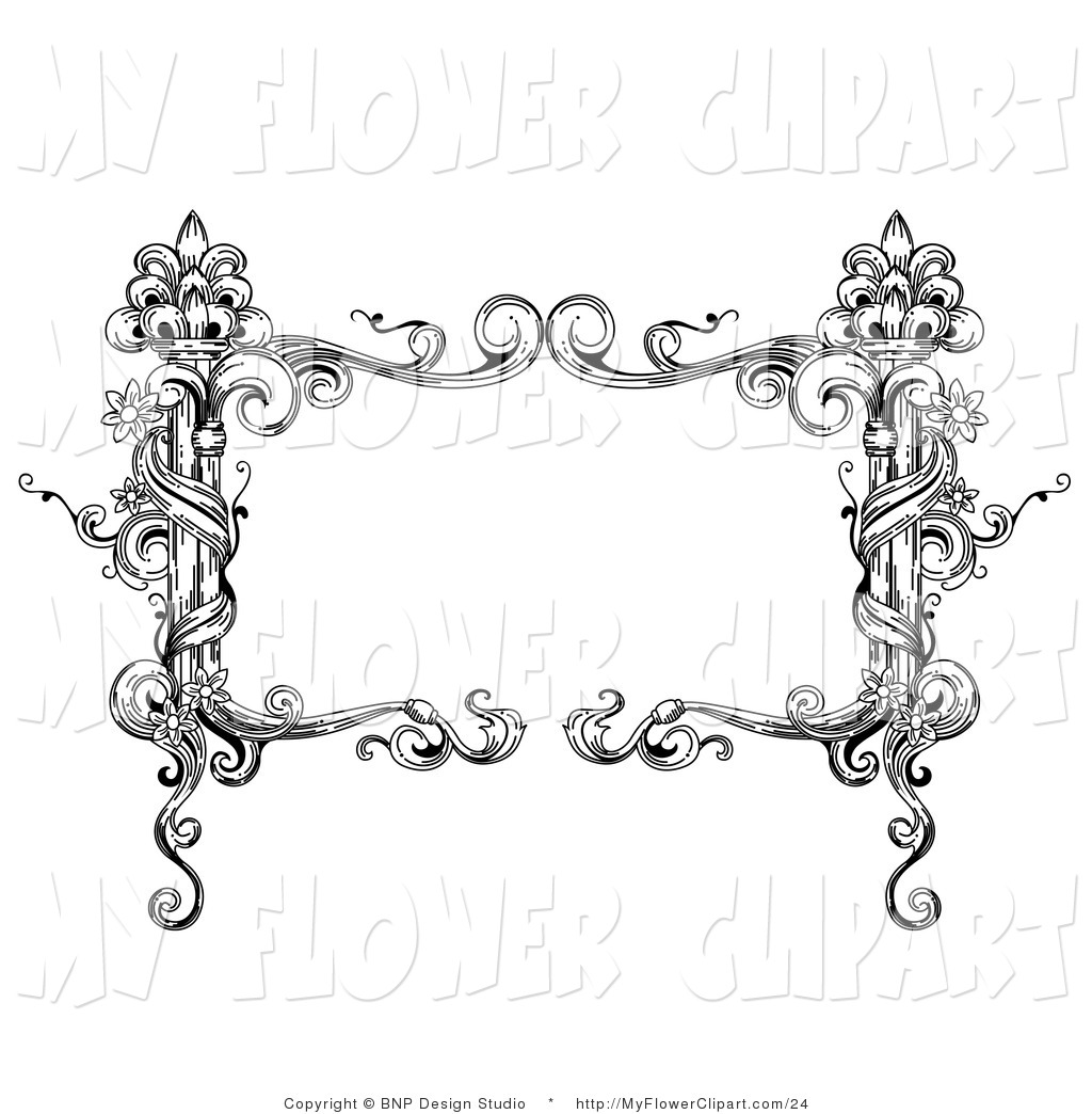 Clip Art Of A Vintage Black And White Rectangular Floral Vine Empty