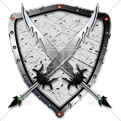 Crossed Barbarian S Swords And Shield   Heraldic Elements Download