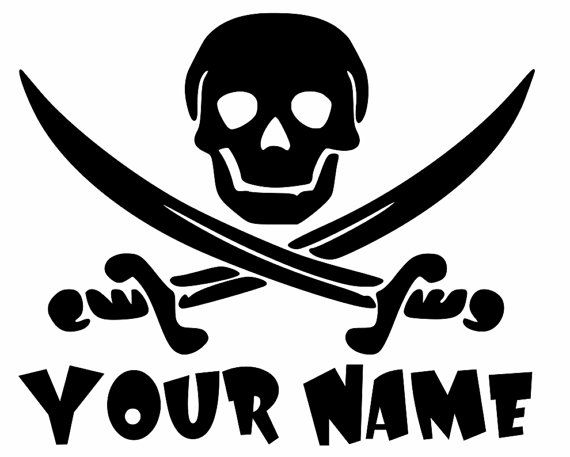 Custom Add Your Name Jolly Roger Pirate Skull And Crossed Swords