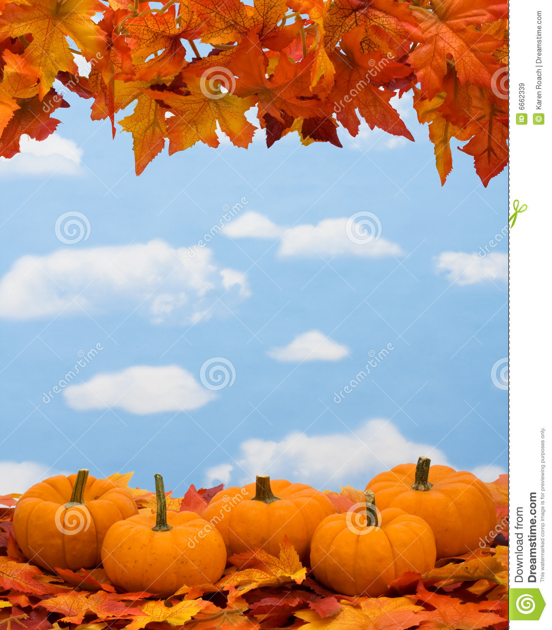 Fall Leaves With Pumpkin On Sky Background Fall Harvest