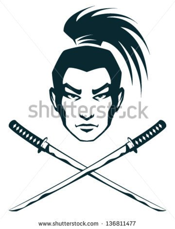 Of A Samurai Warrior And Crossed Katana Swords   Stock Vector