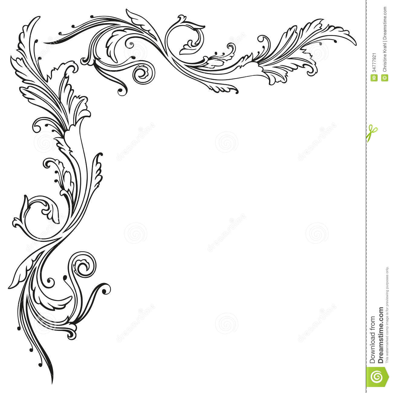 Rose Vine Border Drawing Vintage Floral Border