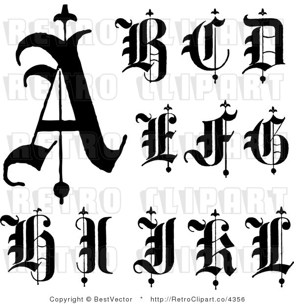 Royalty Free Retro Collage Of Old English Abc Letters A Through L