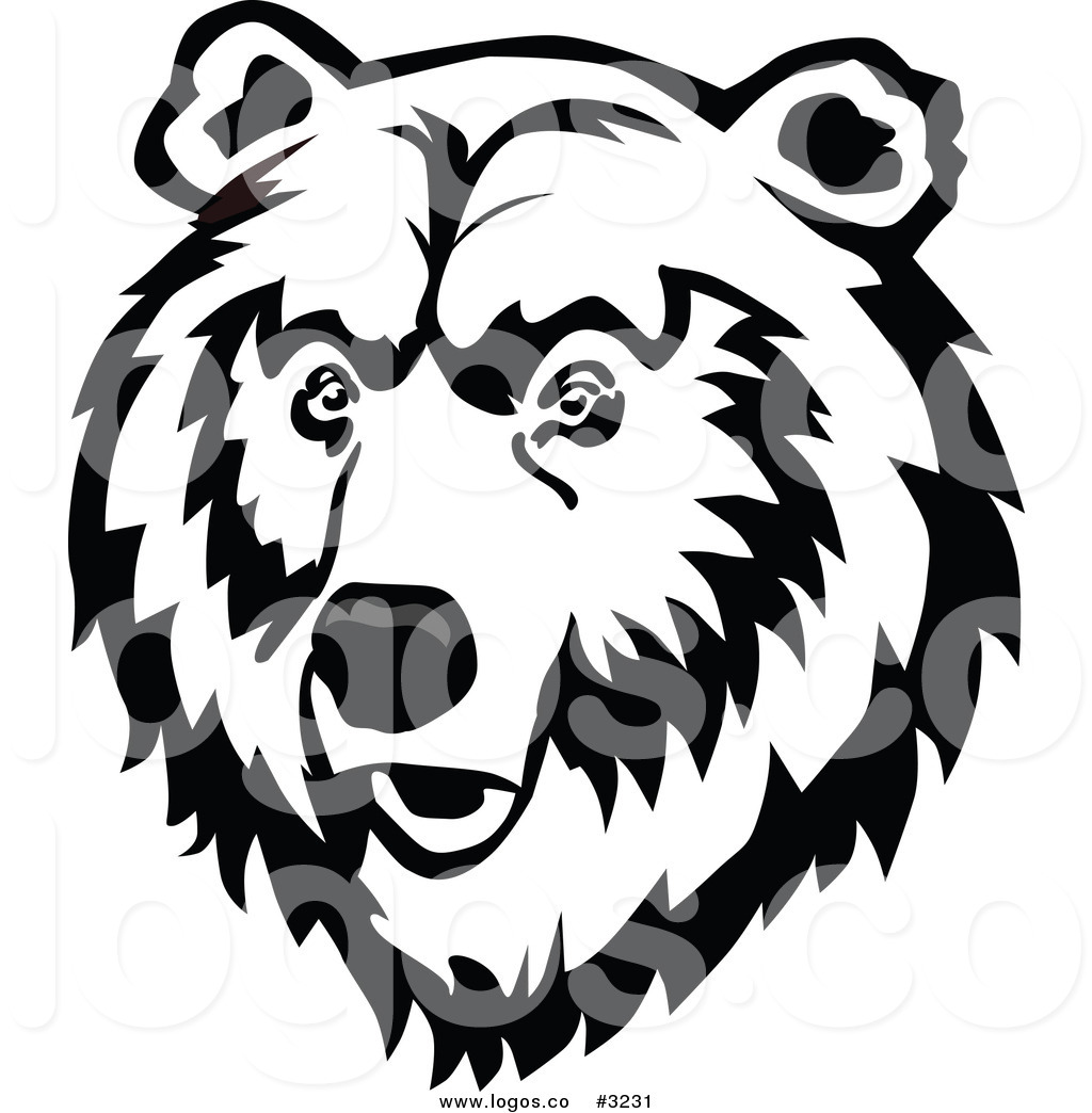 Royalty Free Vector Of A Black And White Bear Face Logo By Seamartini