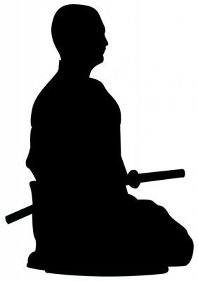 Samurai Silhouette In Front Of Tree Stock Vector Illustration ...
