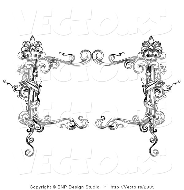 Vector Of Black And White Rectangular Vintage Floral Vine Frame With