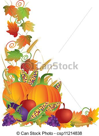 Vectors Of Thanksgiving Fall Harvest And Vines Border Illustration