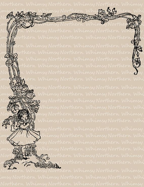 Vintage Clip Art Image   Girl And Rose Vine Border   Illustration