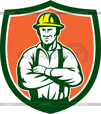 With Hat Arms Crossed Facing Front Set Inside Shield Clipart