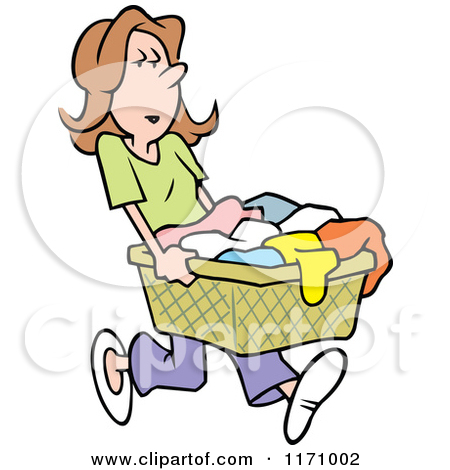 Woman Carrying A Laundry Basket   Royalty Free Vector Clipart By