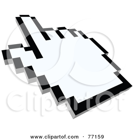 Black And White Arrow Cursor Pointing   Version 2