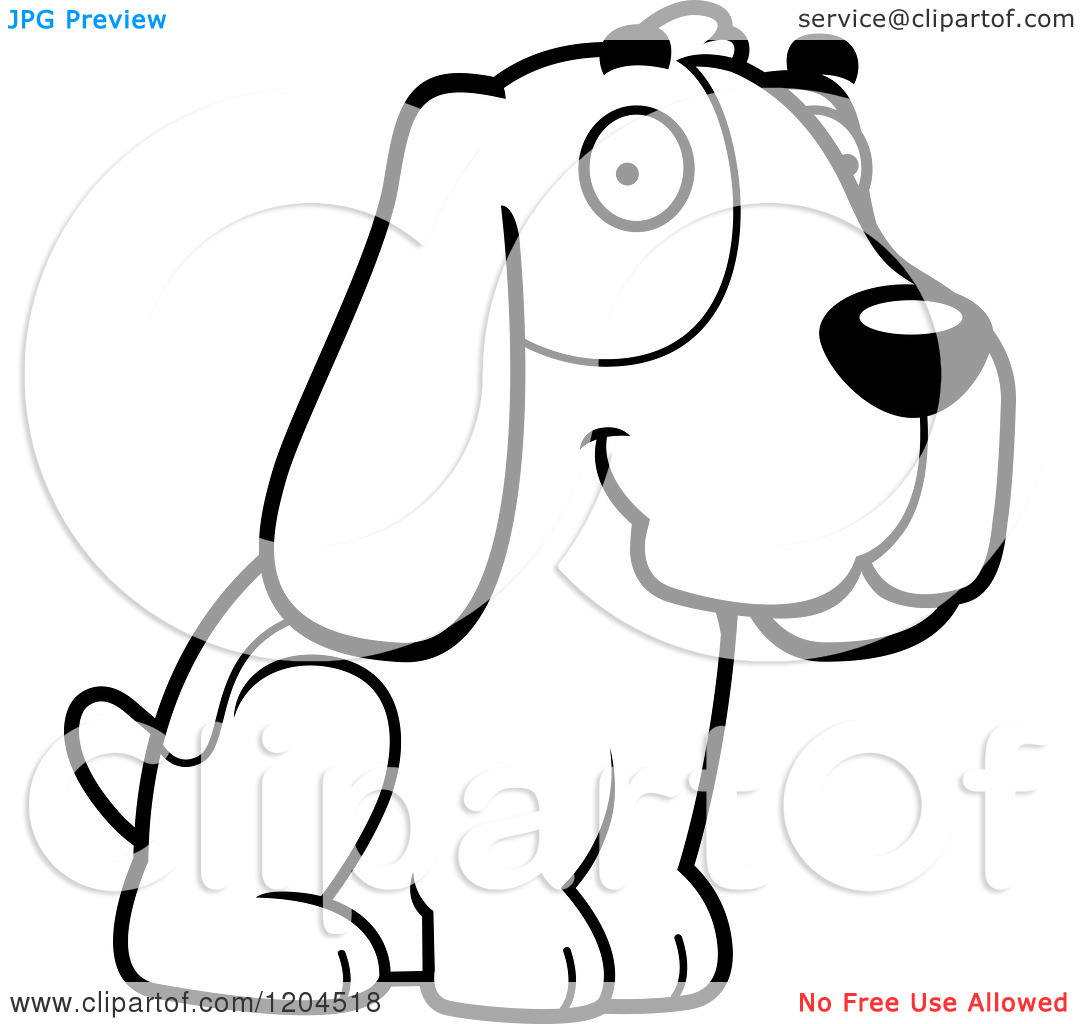 Black And White Cute Hound Dog Sitting   Royalty Free Vector Clipart