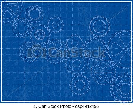 Blueprint Background With Cogs   Csp4942498
