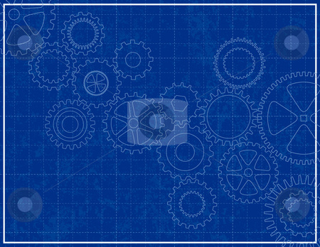 Blueprint Background With Cogs Stock Vector Clipart Blueprint