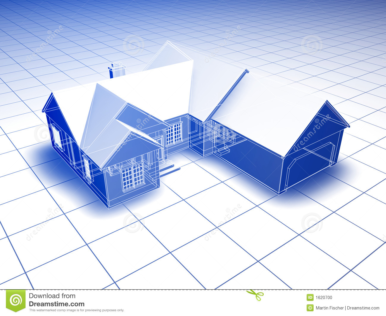 Blueprint Style 3d Rendered House  Blue On White Background