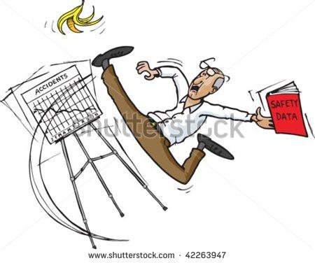 Cartoon Image Of Person Slipping On Banana Peel