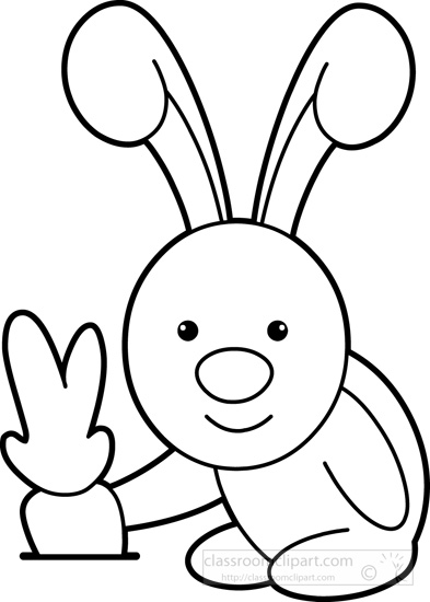 Cute Little Rabbit Pulling Out Carrot From Ground Black White Outline
