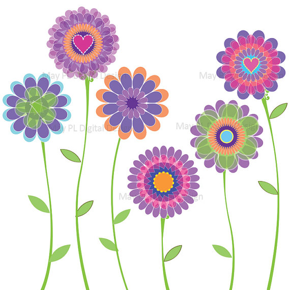 Day Spring Flowers Scrapbook Embellishment Clip Art Clipart Printable
