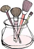 Make Up Brushes In A Pot