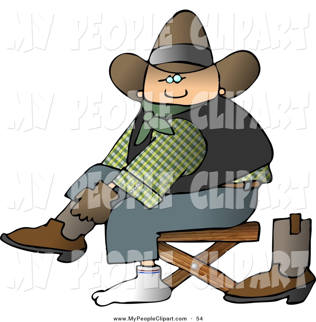 Preview  Clip Art Of A White Cowboy Putting Boots On Feet By Djart