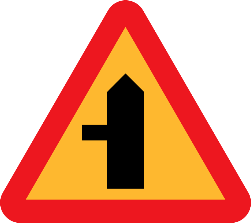 Sign Depicting The Layout Of An Intersection  Swedish Road Signs