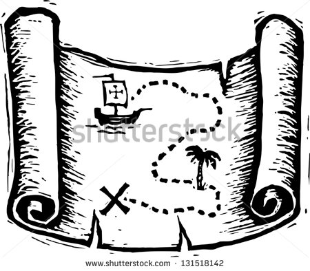 Treasure Map Clipart Black And White Black And White Vector