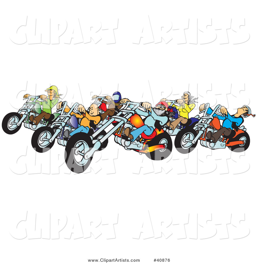 Vector  40876   Group Of Biker Chicks And Dudes Riding Their Colorful