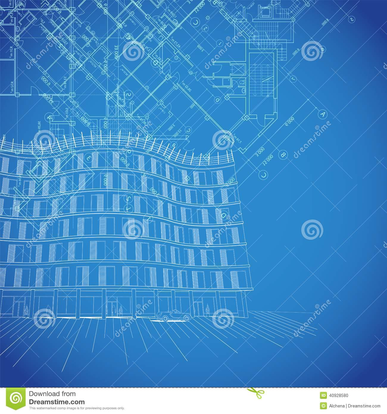 Vector Blueprint Background With Building Plans Stock Vector   Image
