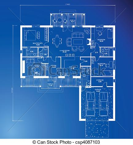 Vectors Of Architectural Blueprint Background Vector   Architectural