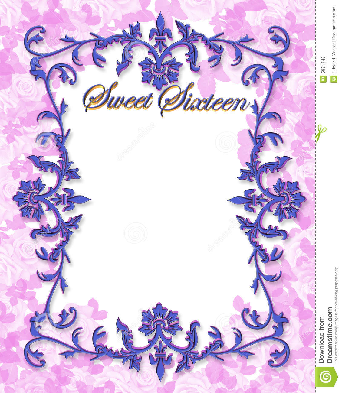 16 Birthday Illustration For Ornamental Frame Background Border