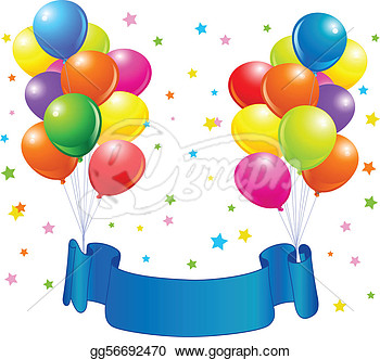 Birthday Design With Balloons Confetti   Copy Space Ribbon Clipart