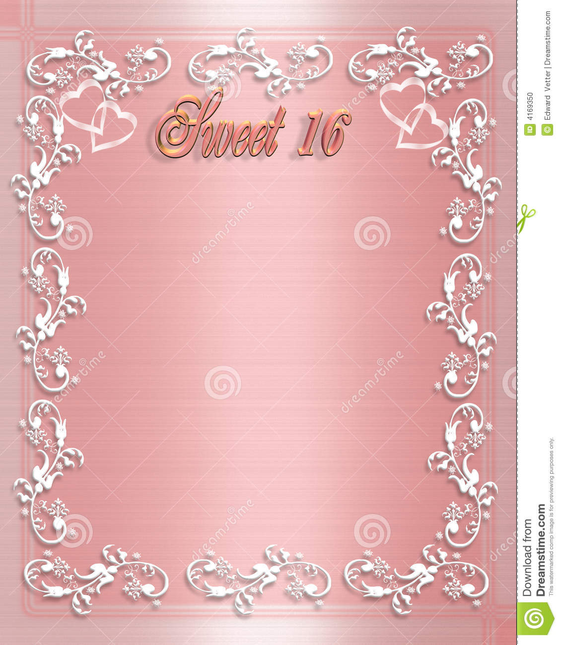 Birthday Invitation Background Of Pink Satin With White Border Design