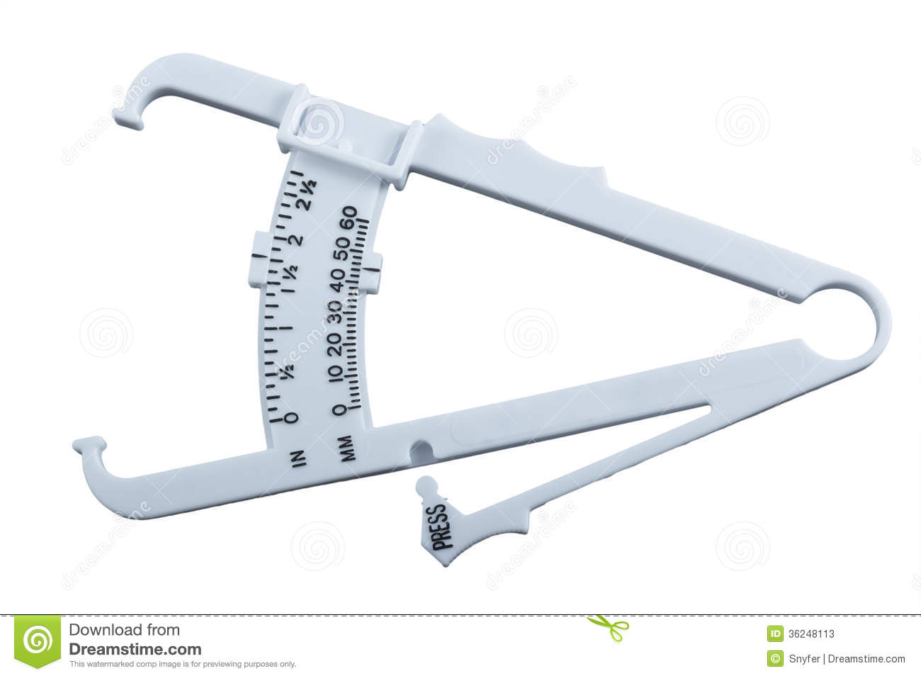 Body Fat Measuring Calipers Isolated On White Background