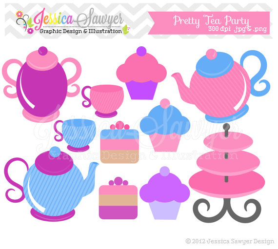 Clearance   Tea Party Clipart   Tea Pot Clip Art   Mad Hatter Graphic