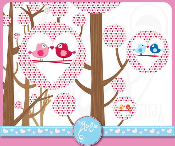 Clip Art Digital Clip Art Love Bird Love Tree Valentine Day