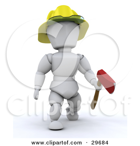Clipart Illustration Of A White Character Fireman Carrying An Ax And