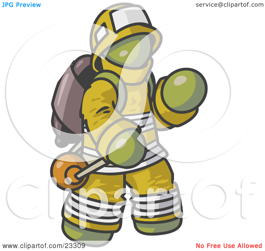 Clipart Illustration Of An Olive Green Fireman In A Uniform Fighting