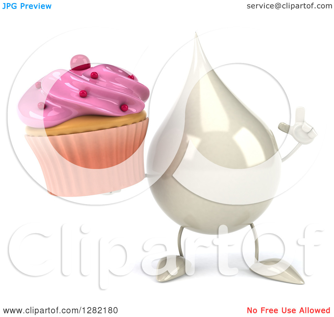 Clipart Of A 3d Milk Lotion Shampoo Or Liquid Soap Drop Character