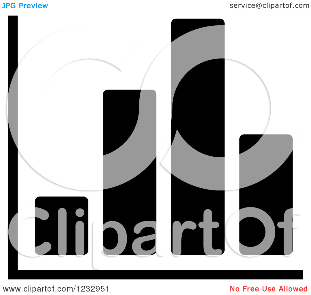 Clipart Of A Black And White Bar Graph Business Icon   Royalty Free