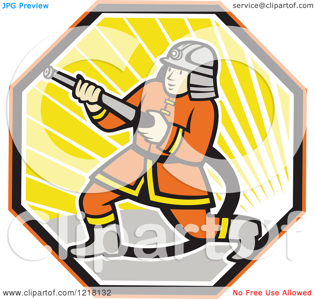 Clipart Of A Cartoon Japanese Fireman With A Hose In A Hexagon Of