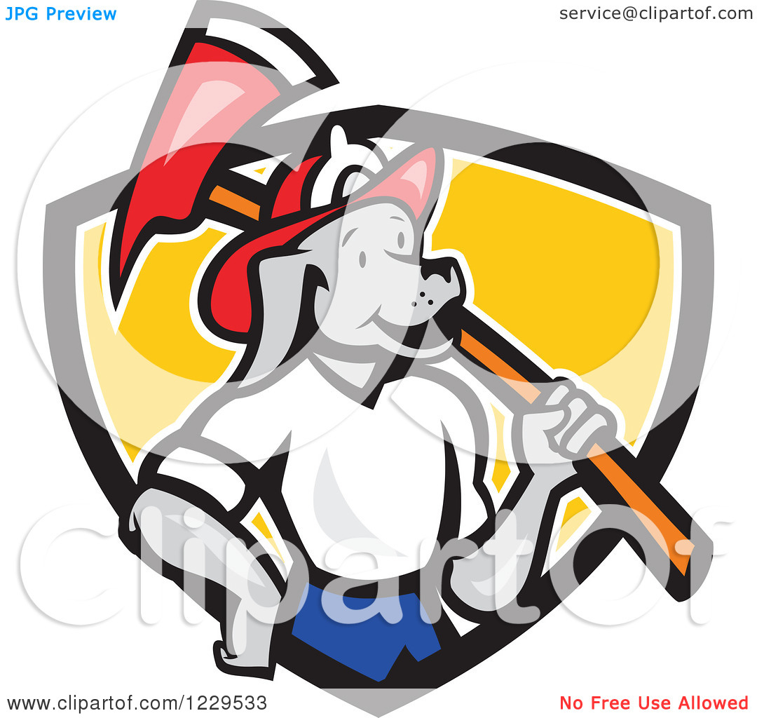 Clipart Of A Dog Fireman With An Axe On His Shoulder In A Shield