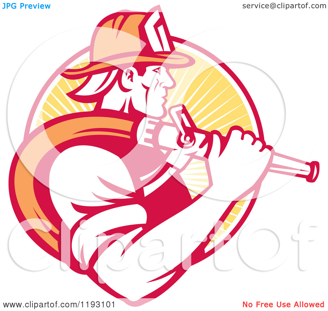 Clipart Of A Retro Fireman In Profile Carrying A Hose Over His