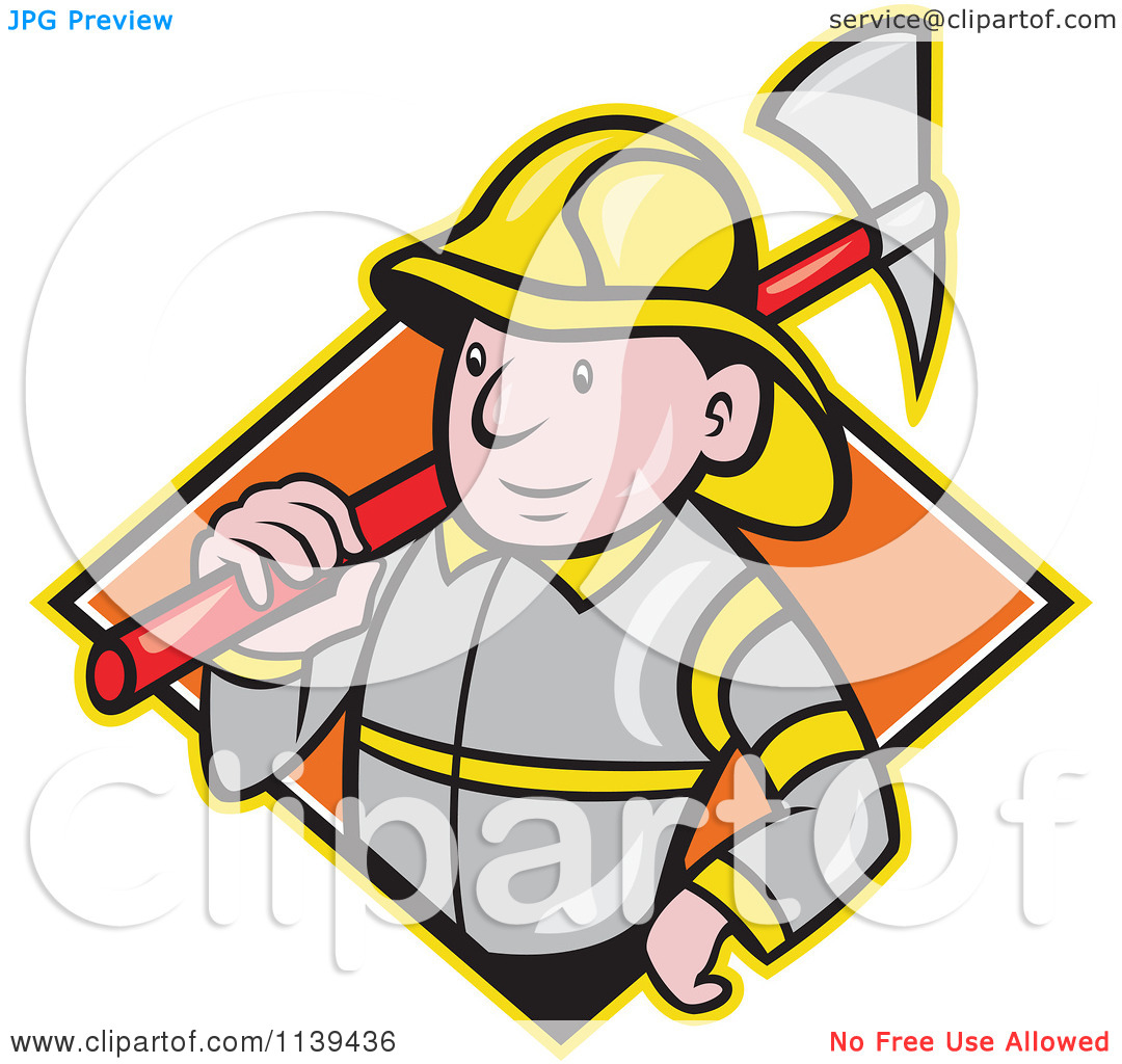 Clipart Of A Retro Fireman With An Axe Over A Diamond   Royalty Free
