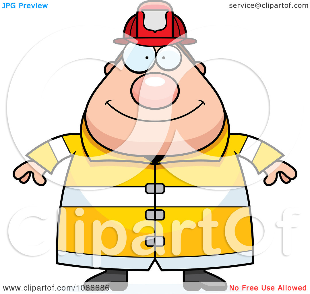 Clipart Pudgy Fireman   Royalty Free Vector Illustration By Cory