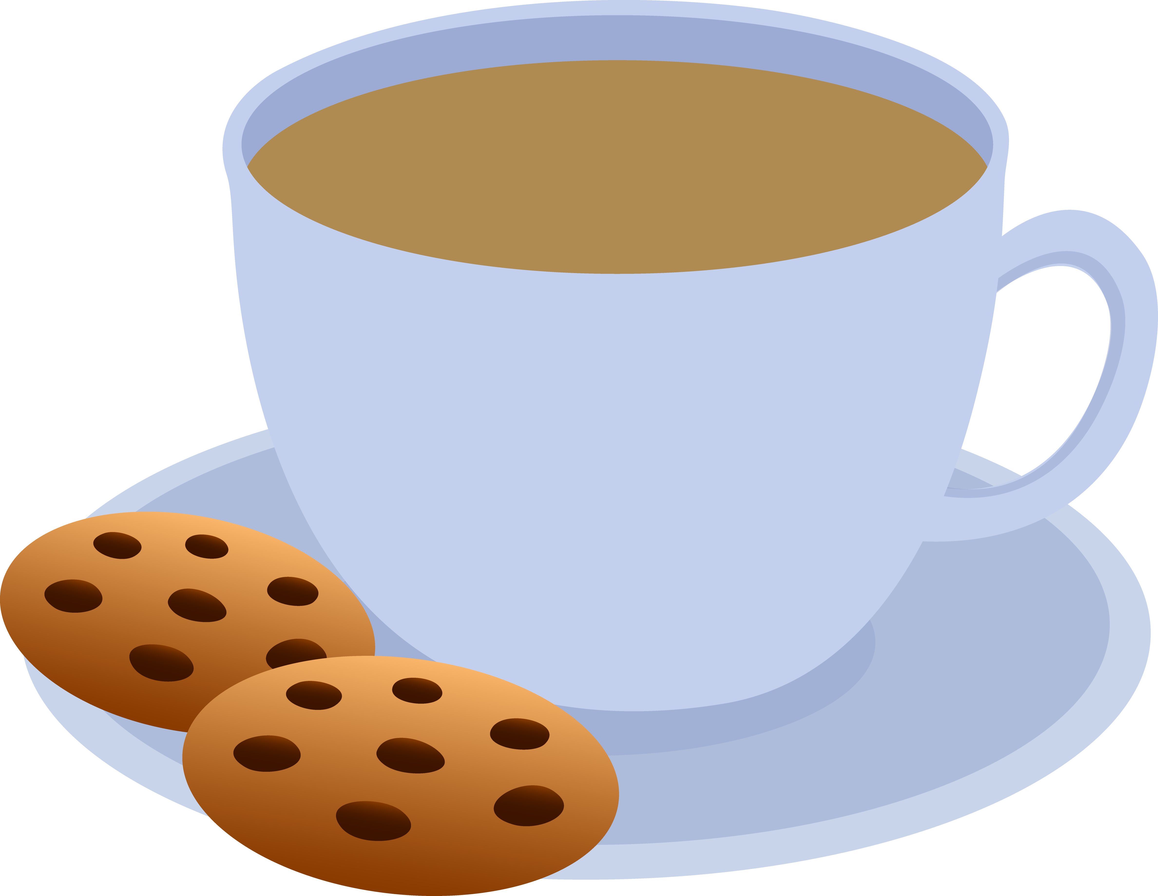 Cup Of Coffee And Chocolate Chip Cookies   Free Clip Art